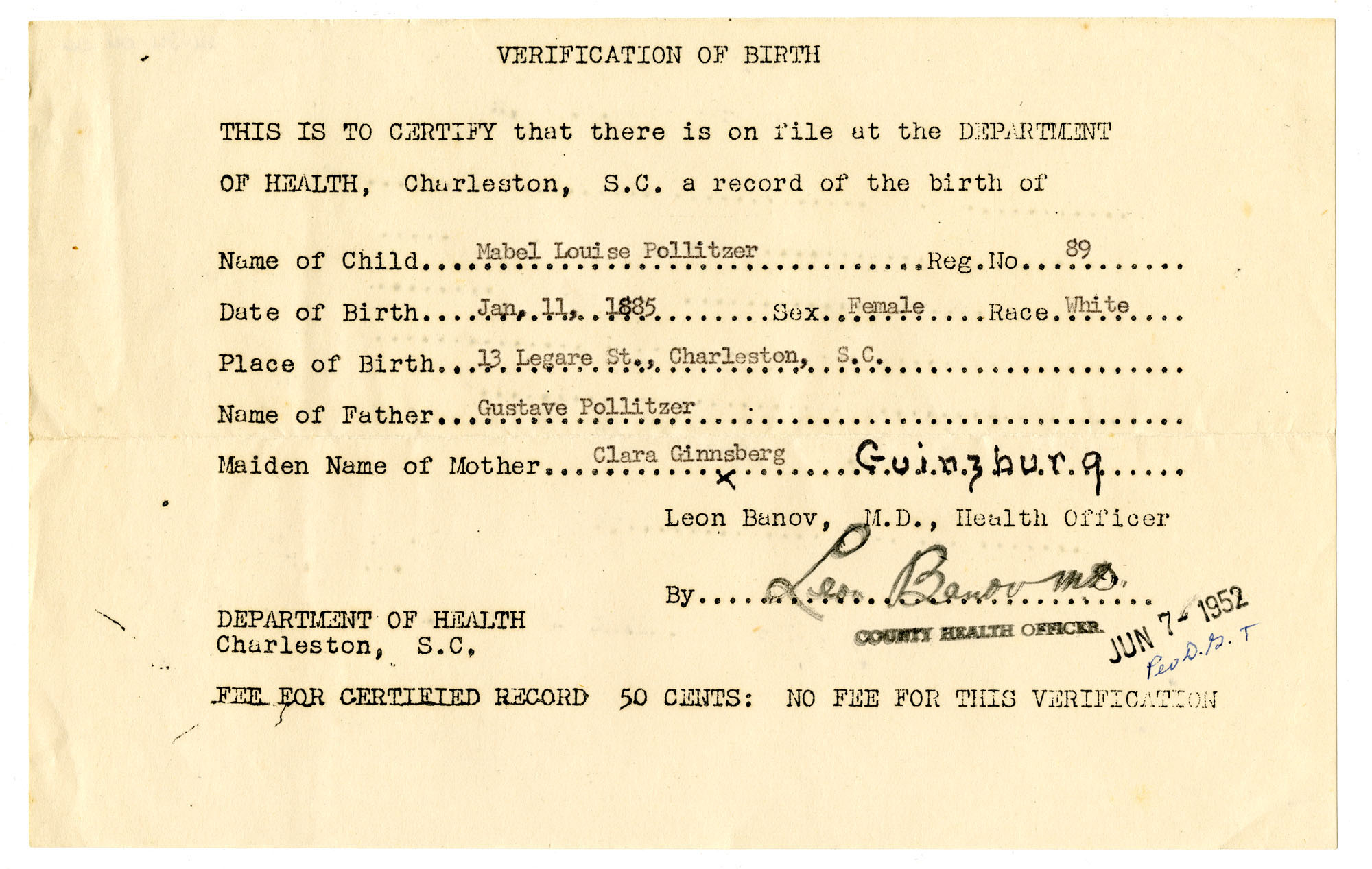 Mabel Louise Pollitzer birth certificate