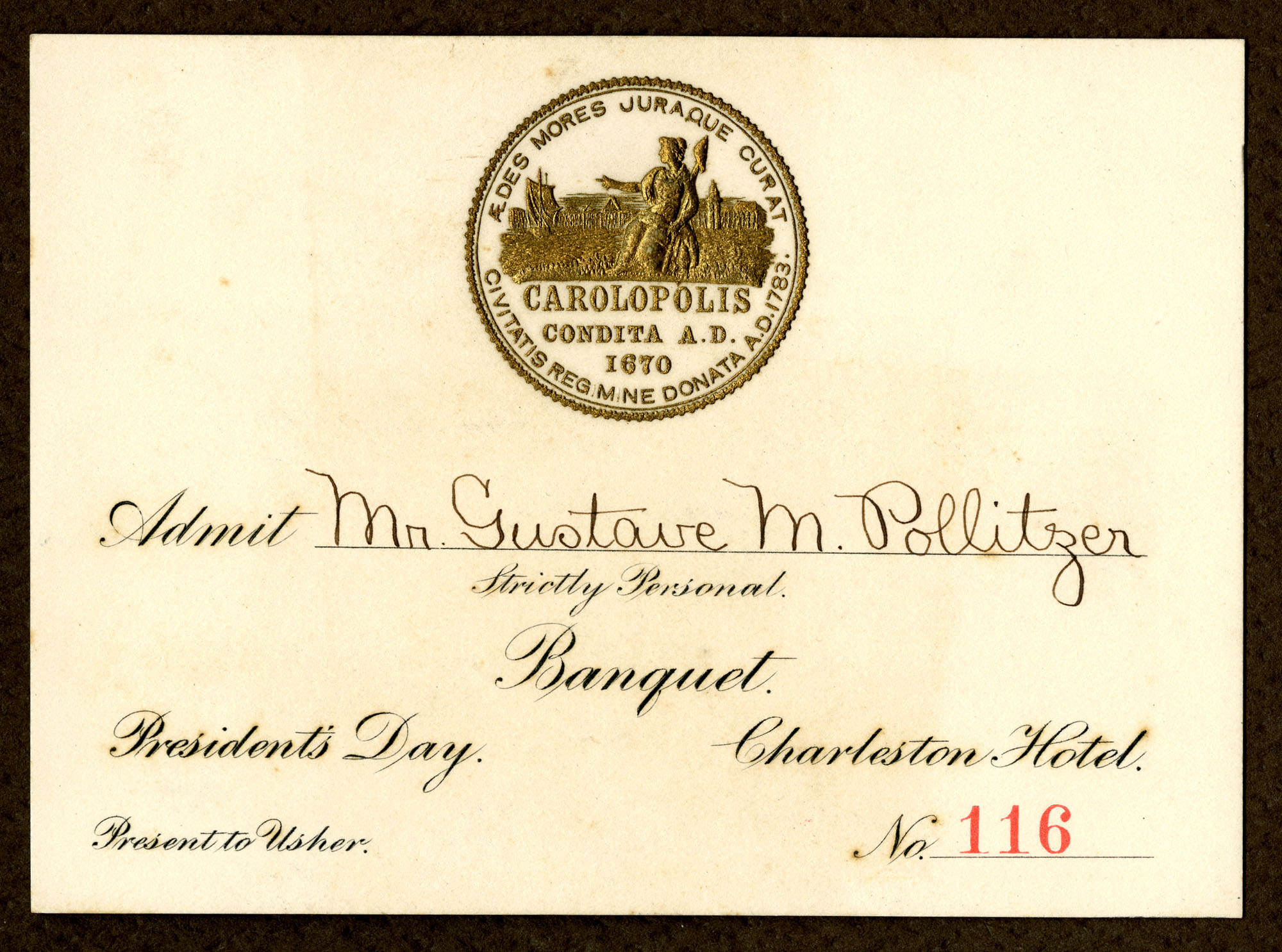 Gustave M. Pollitzer World's Fair banquet ticket for President's Day