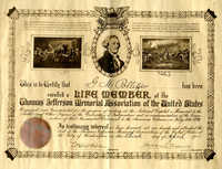 Gustave M. Pollitzer certificate from the Thomas Jefferson Memorial Association