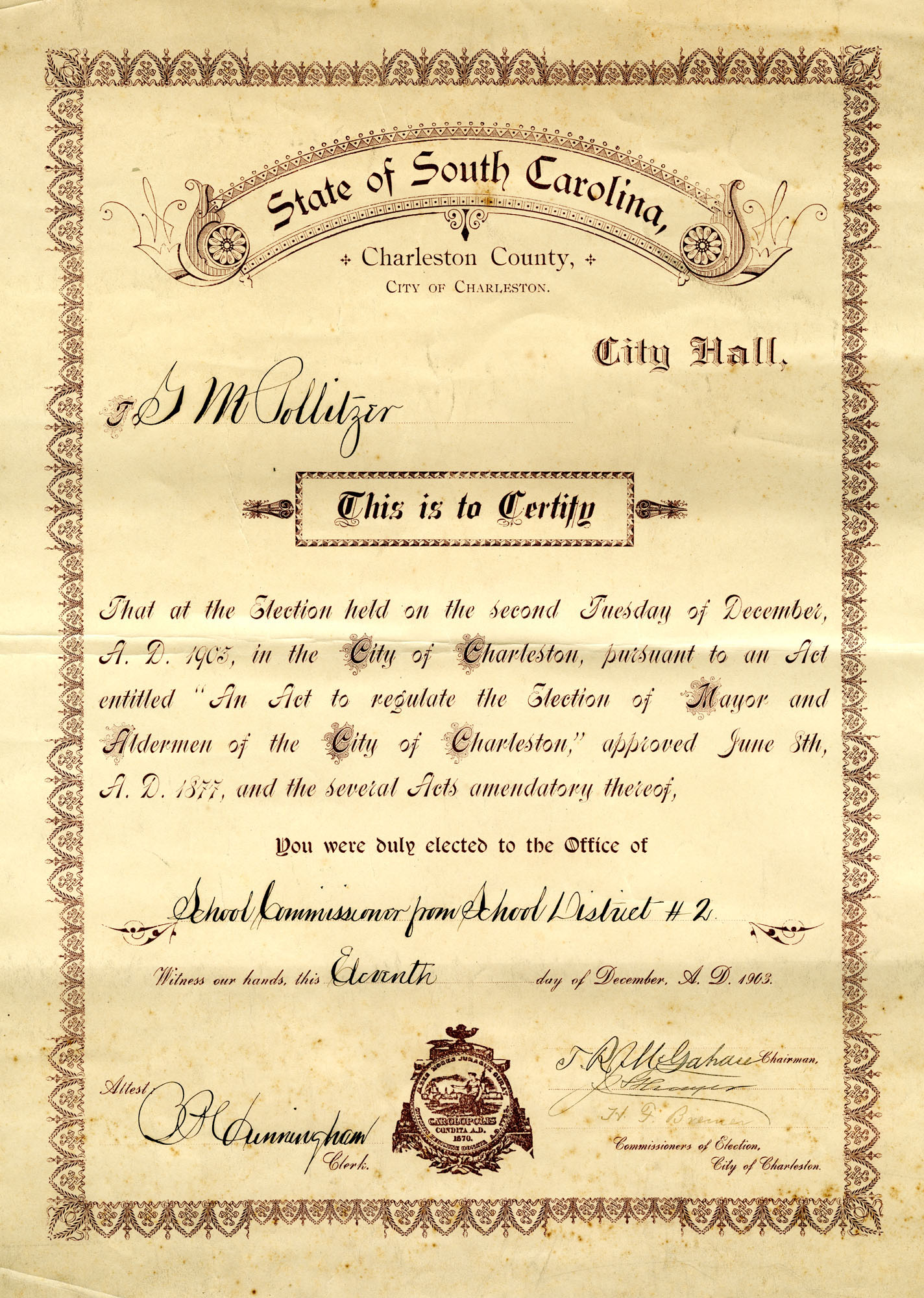 Gustave M. Pollitzer School Commissioner Certification