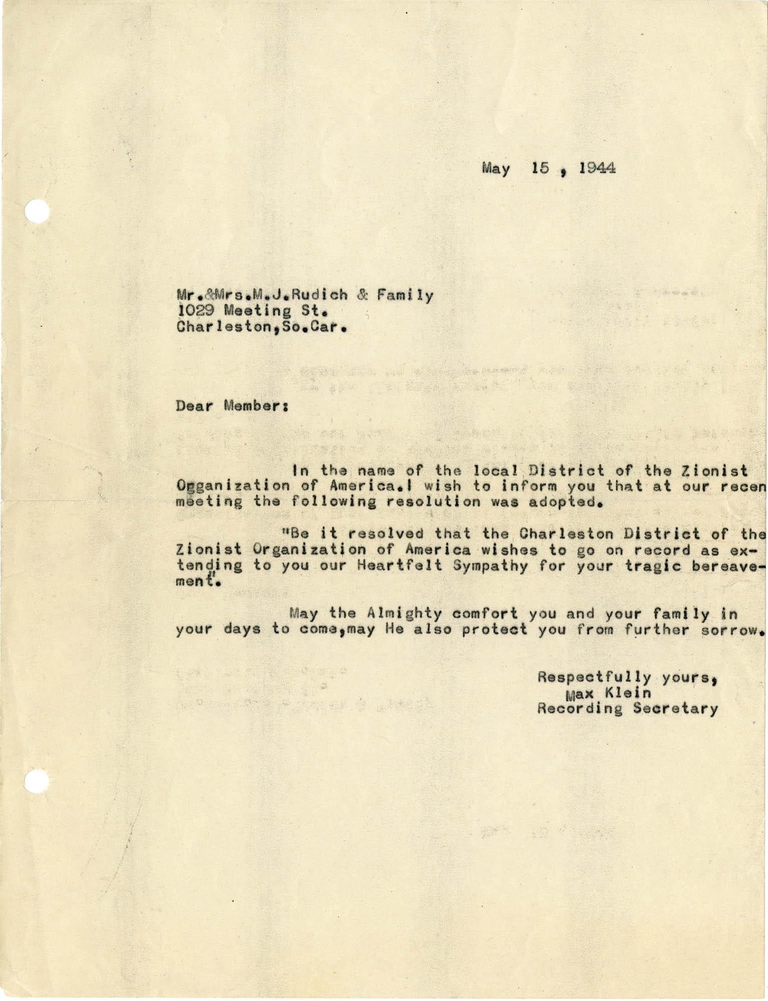 23. Klein letter