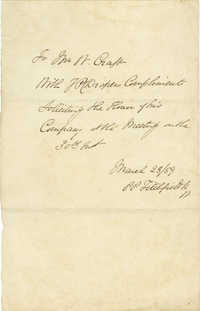 3. Note to William Craft requesting his presence at an Abolitionist Meeting
