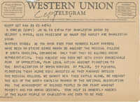 Telegram to Delbert L. Woods, Vice-President of the South Carolina NAACP, from Isaiah Bennett