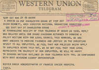 Telegram to Isaiah Bennett from Sister Maria Murphy
