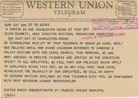 Telegram to Isaiah Bennett from Sister Maria Murphy
