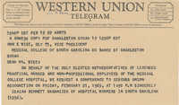 Telegram to John E. Wise, Vice-President of the Medical College, from Isaiah Bennett