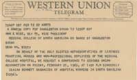 Telegram to John E. Wise, Vice-President of the Medical College, from Isaiah Bennett