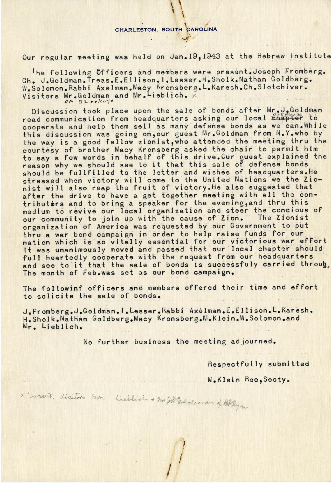 12. January 19, 1943 Minutes
