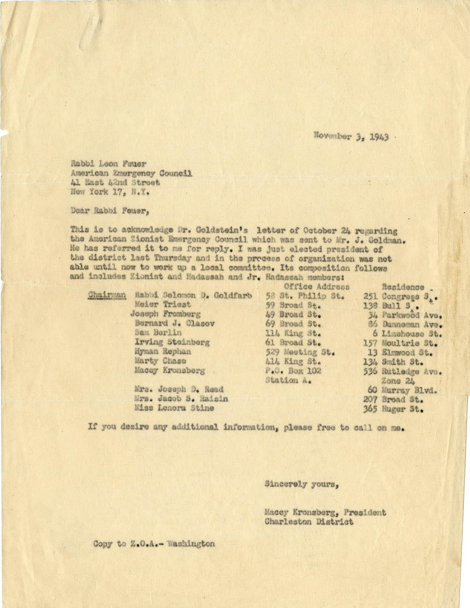 15. Macey Kronsberg Letter