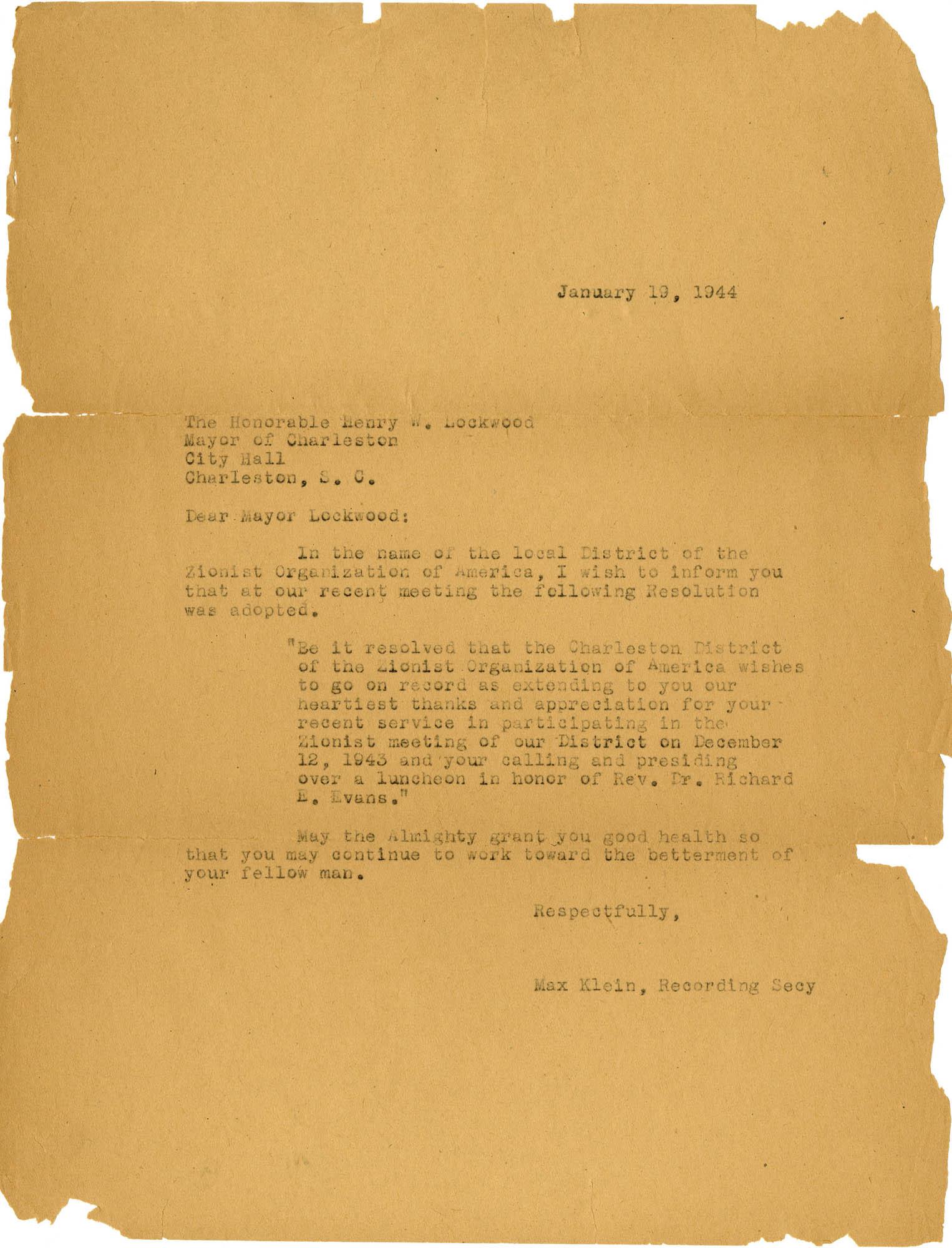 18. Letter to Mayor Lockwood