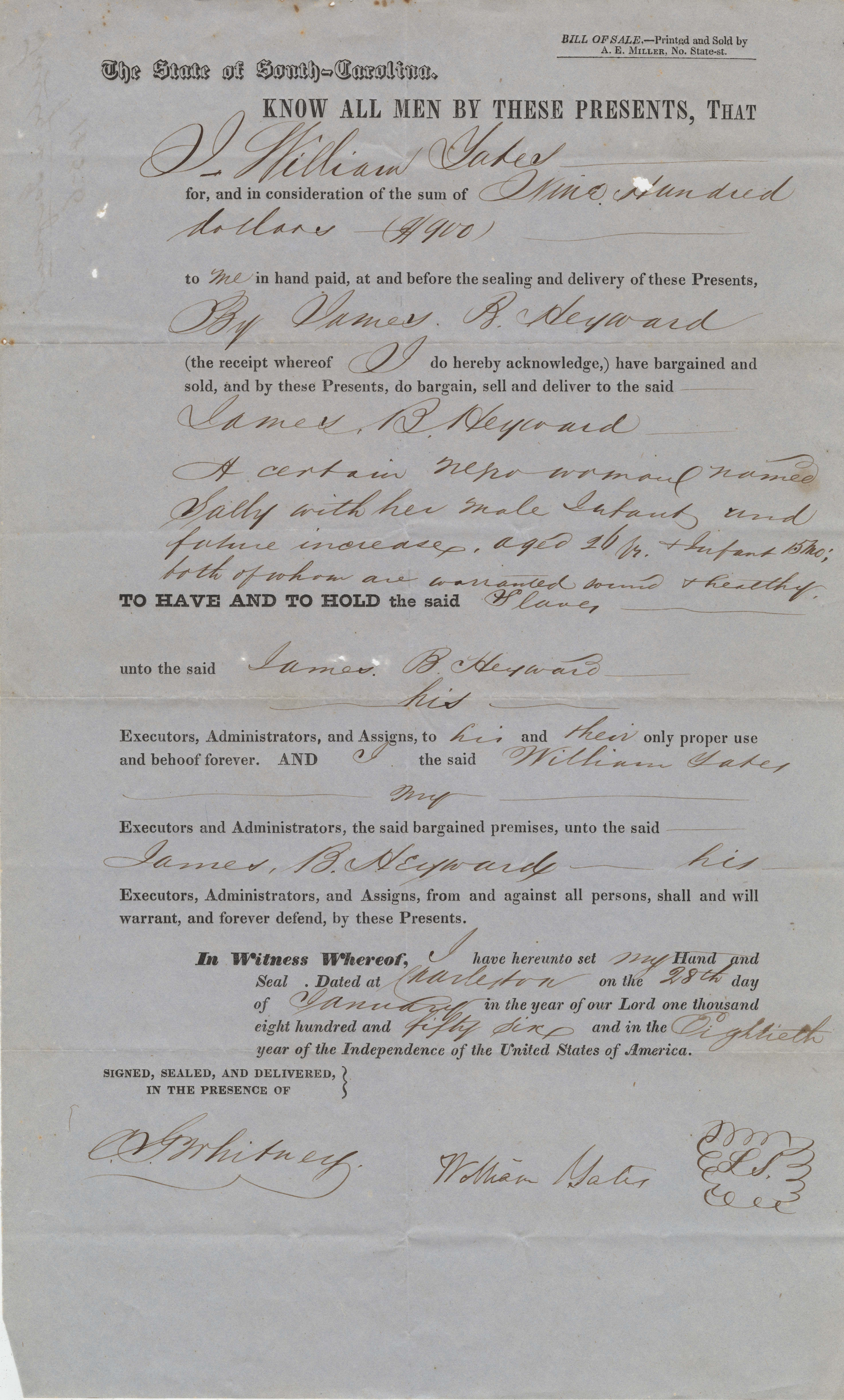 147. Bill of Sale for Slaves between William Yates and James B. Heyward -- January 28, 1856