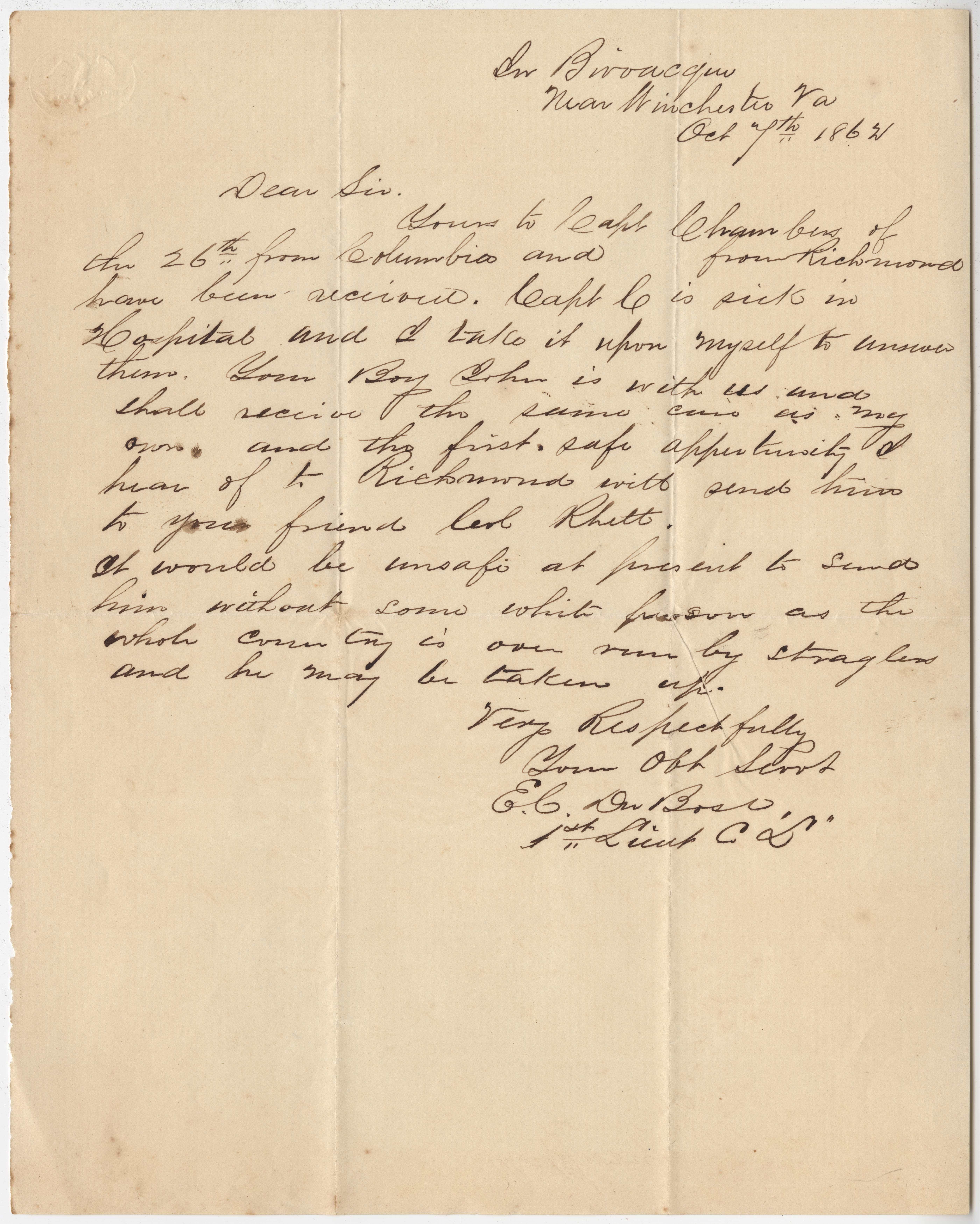 180. E.C. DuBose to James B. Heyward -- October 7, 1862