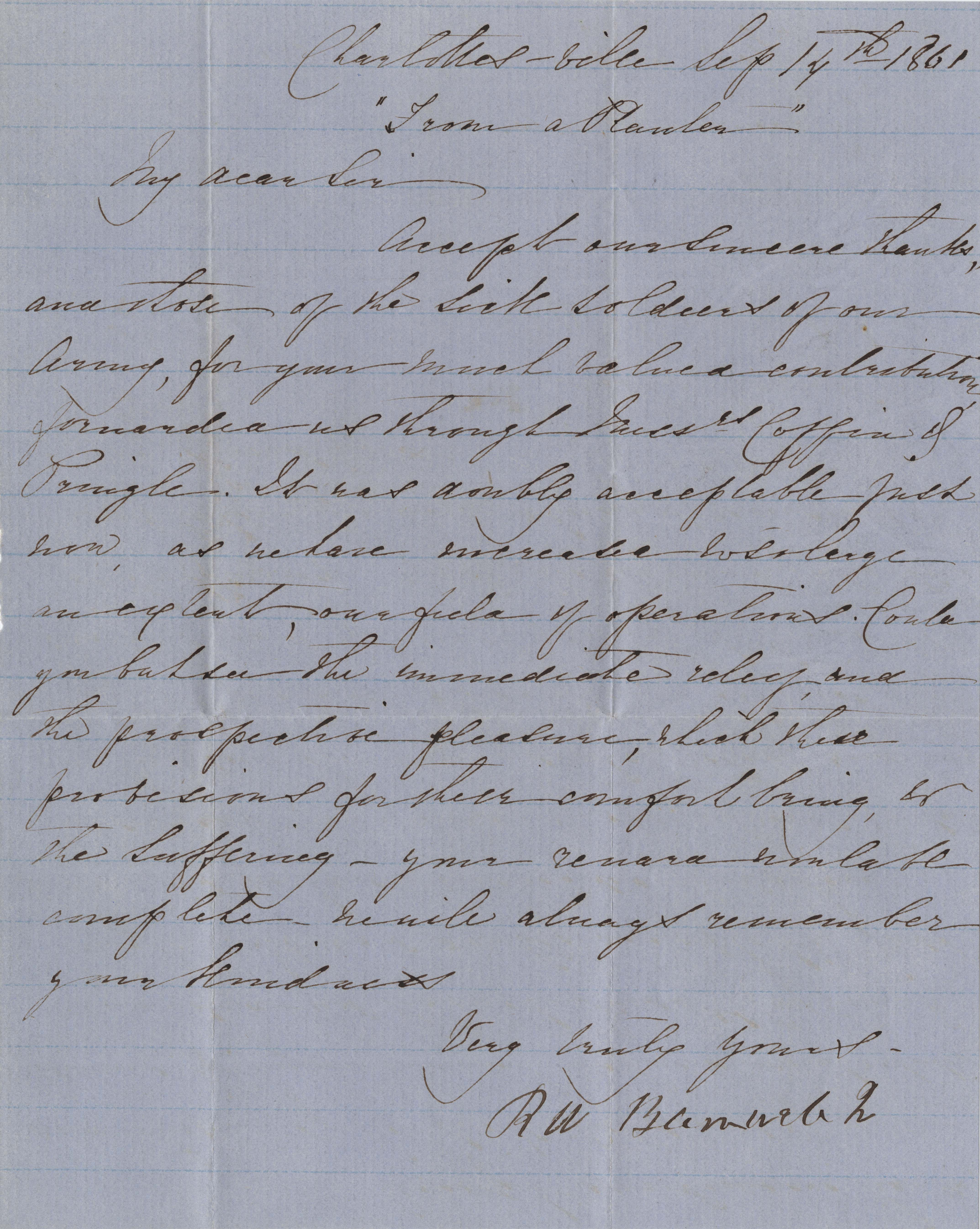 169. R.W. Barnwell to (unknown) -- September 14, 1861