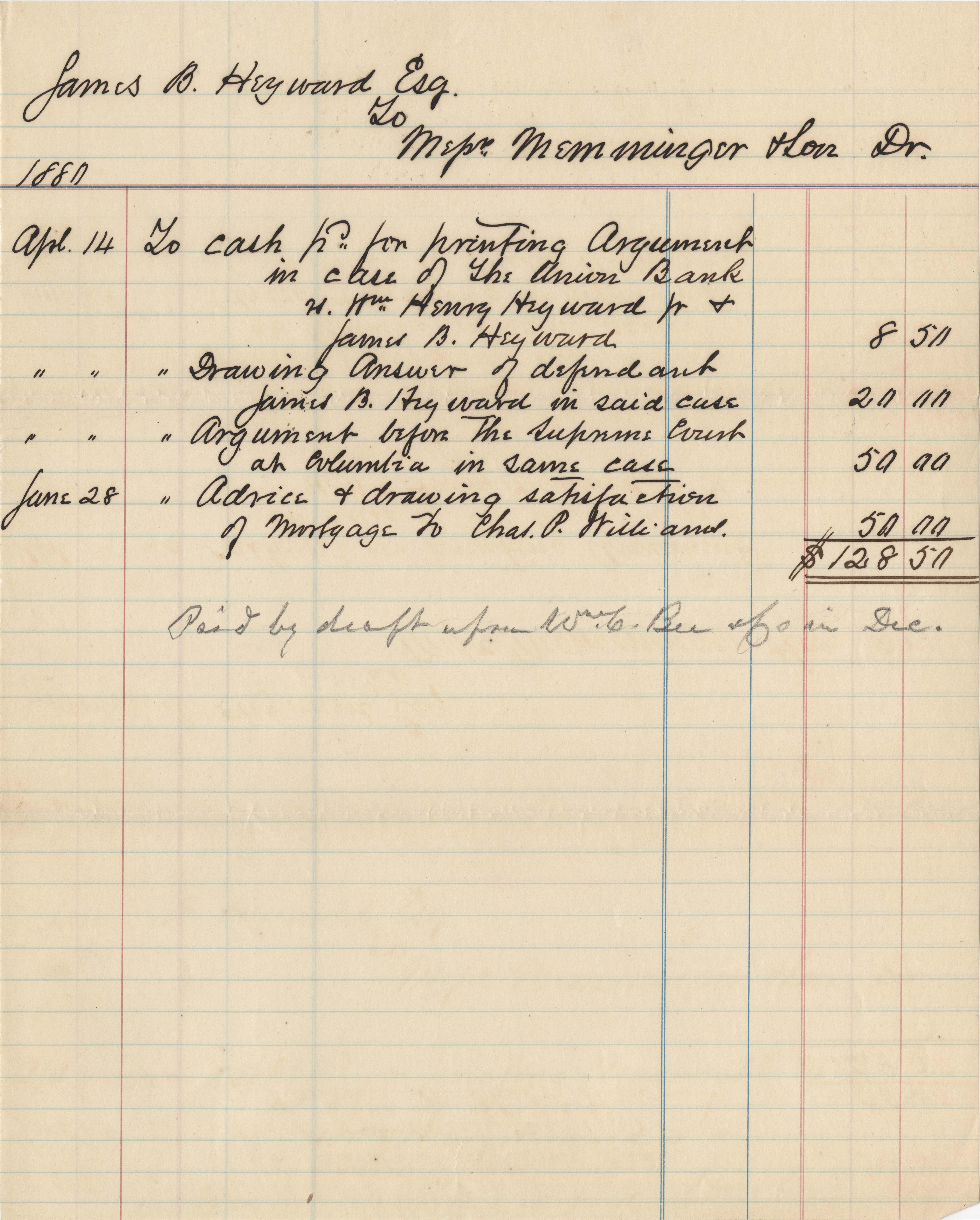 330. Legal Bill to James B. Heyward -- April & June, 1880