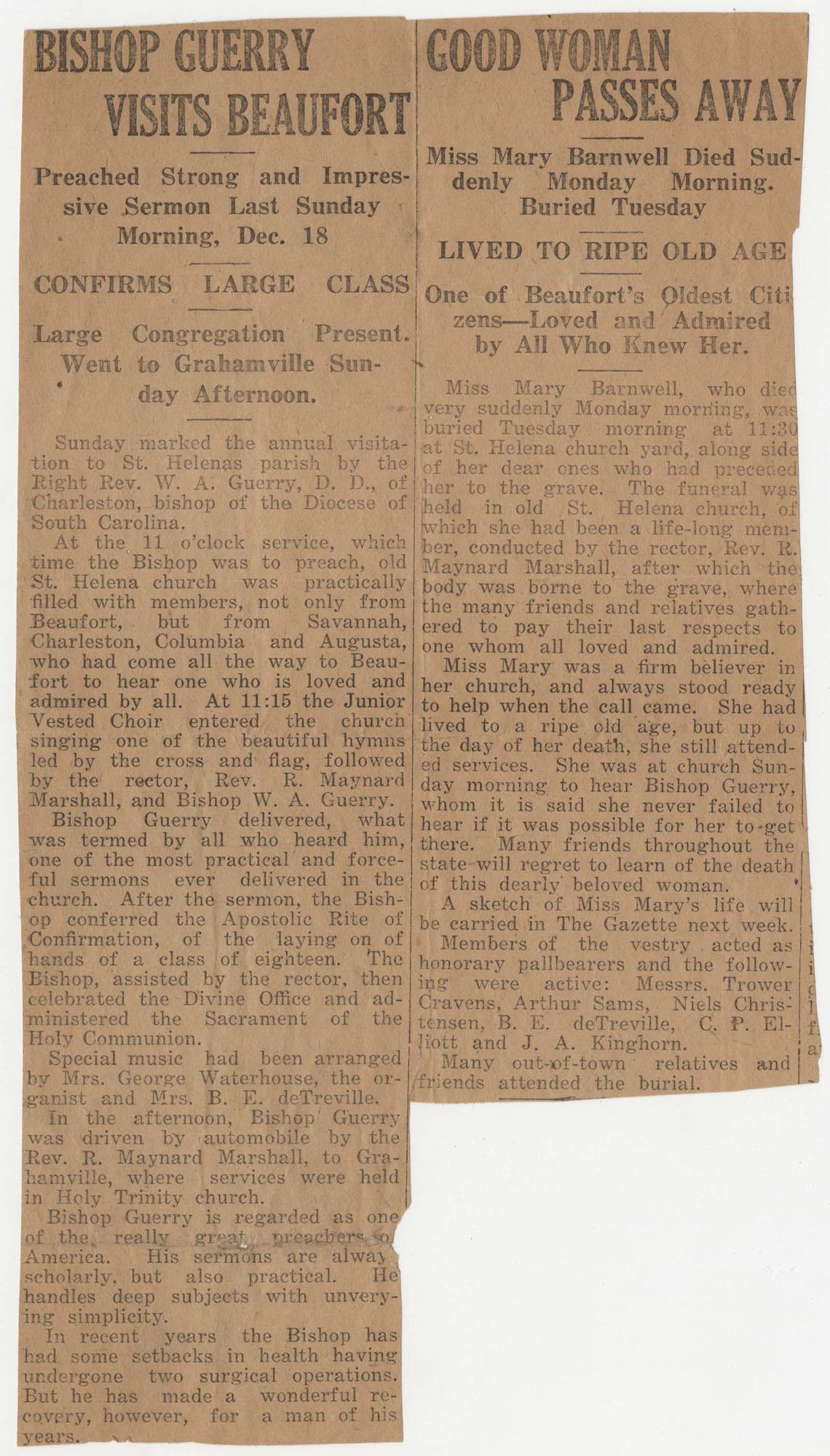 619.  Mary Elliott Barnwell obituary -- 1927