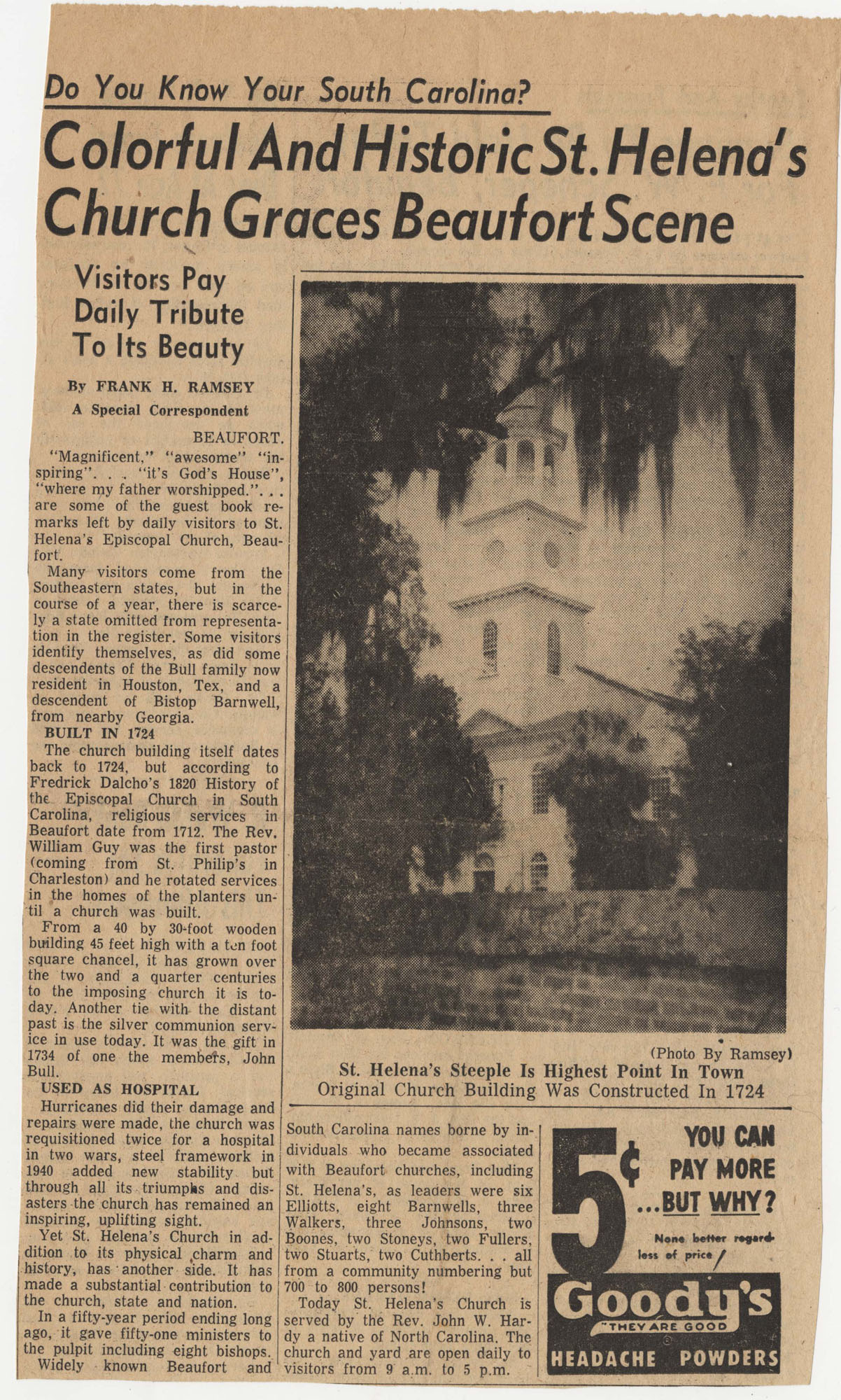 615.  Clipping on St. Helena's Episcopal Church -- ca. 1955