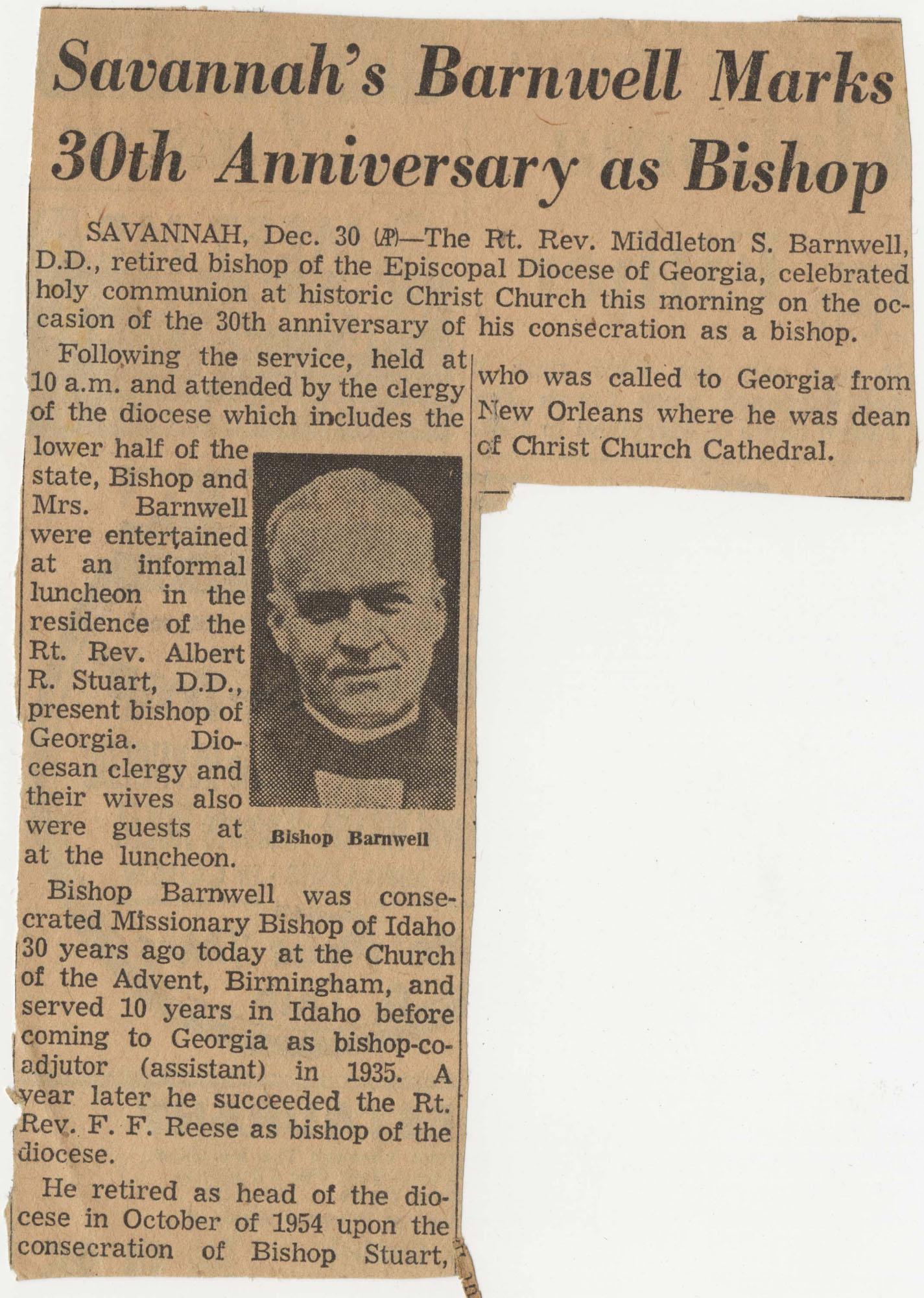 614.  Bishop Middleton S. Barnwell anniversary -- 1955