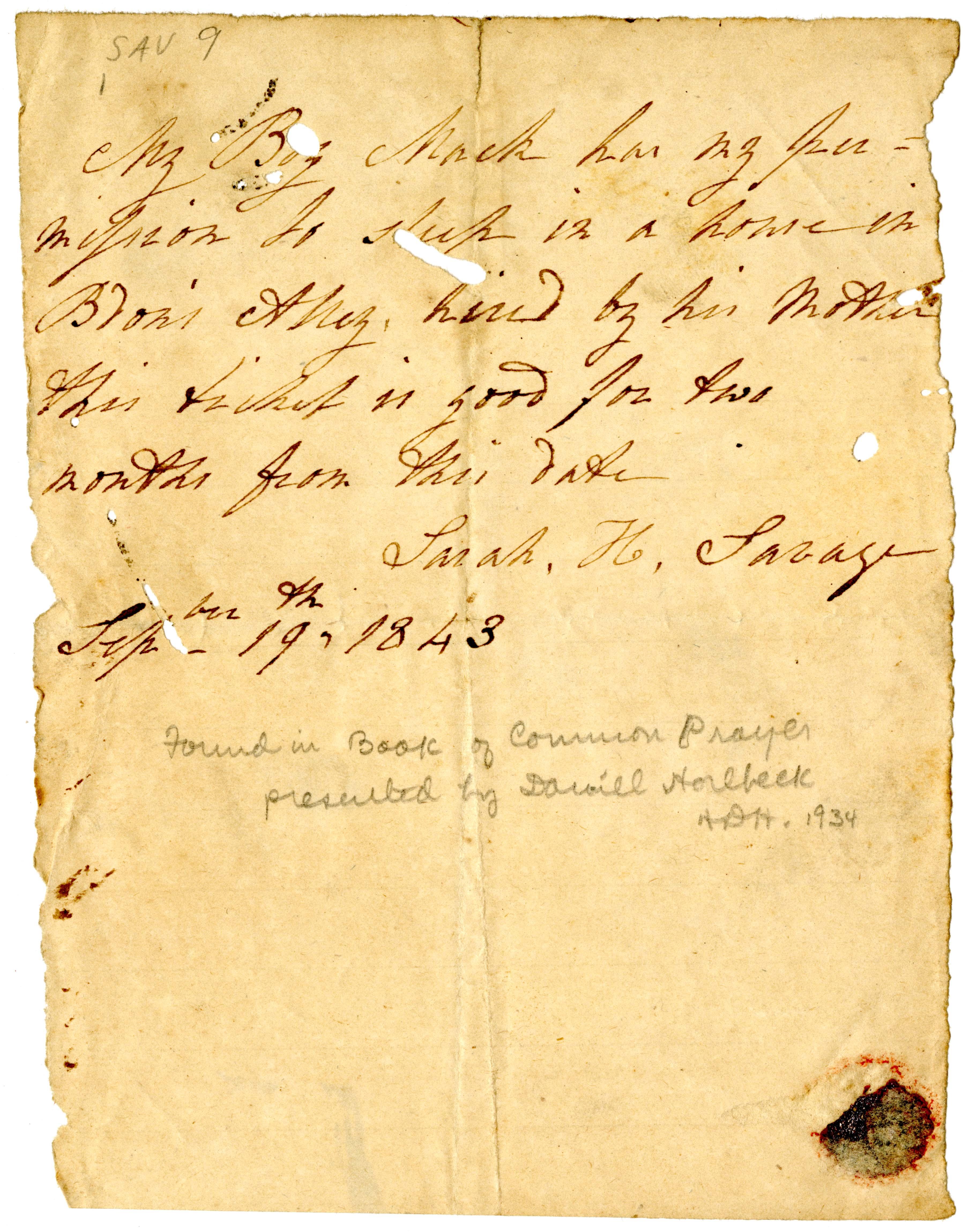 Sarah Savage. Slave Pass, 1843