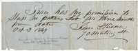 Isaac Riddell. Slave pass, 1849