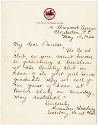 Invitation from Frances Gooding, May 10, 1922