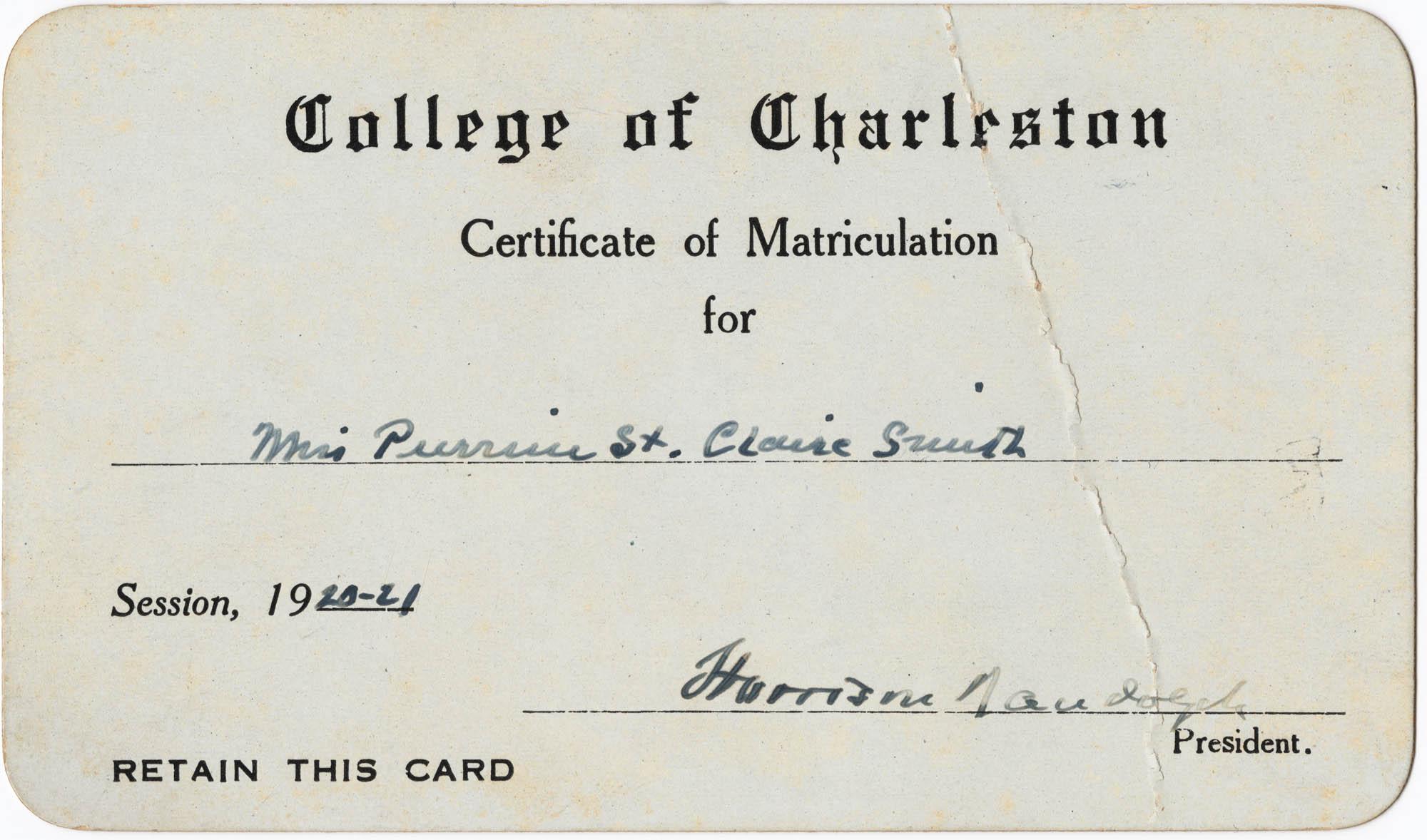 Certificate of Matriculation