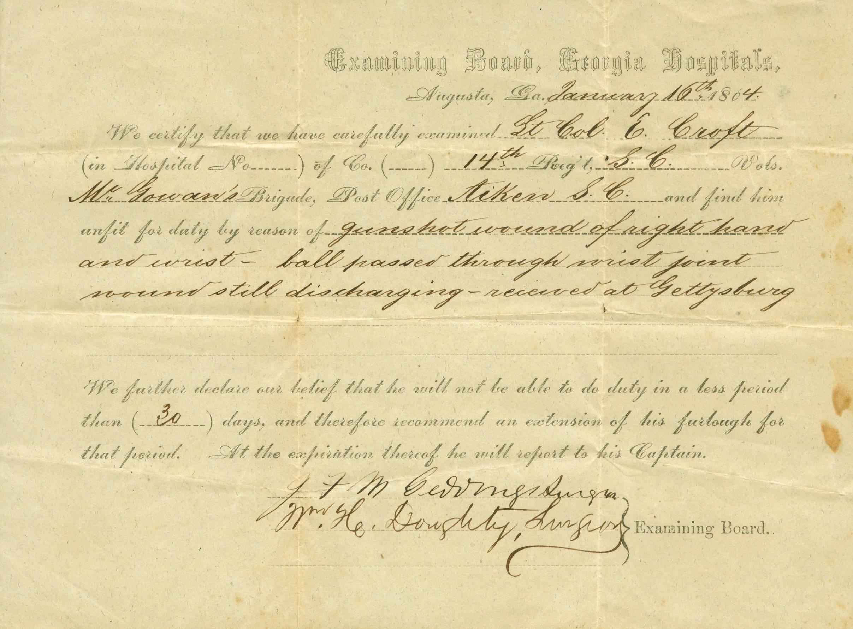 Edward Croft extension of furlough, January 16, 1864