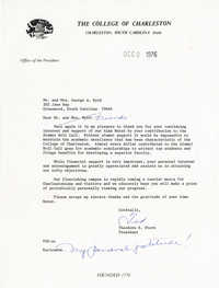 Letter from Ted Stern, December 12, 1976