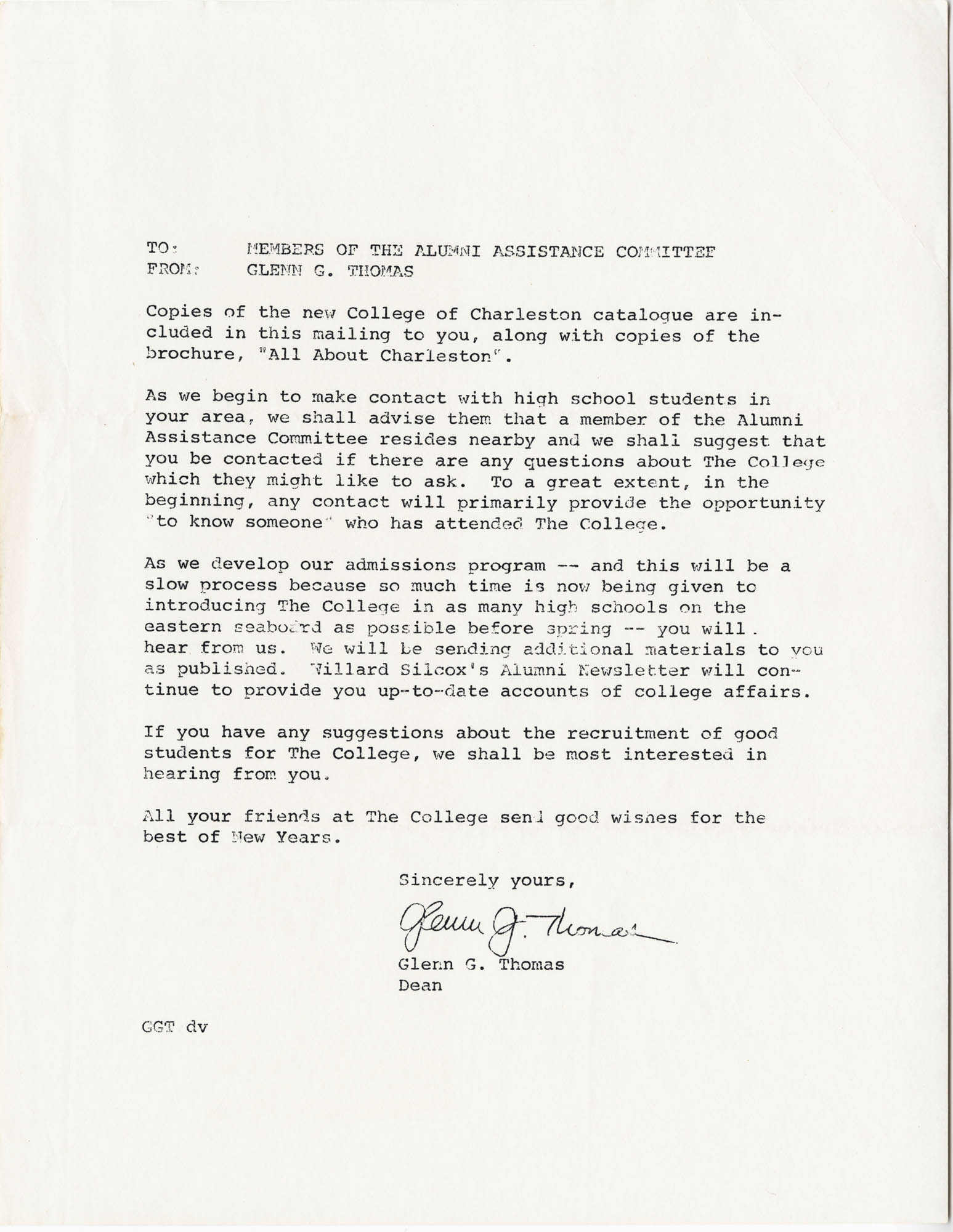 Letter from Glenn G. Thomas, undated