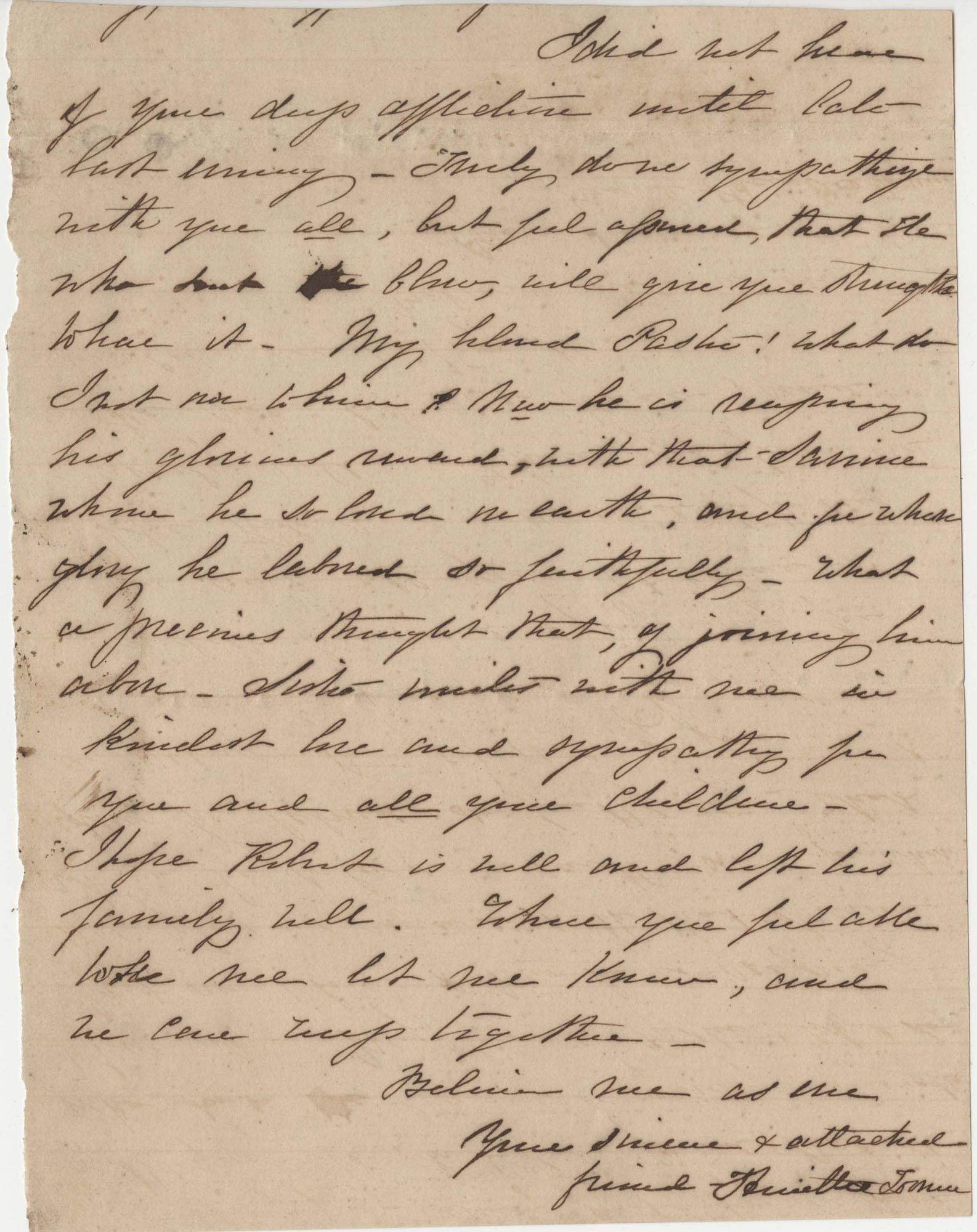 211.  Henrietta Toomer? to Catherine Osborn Barnwell -- 1863