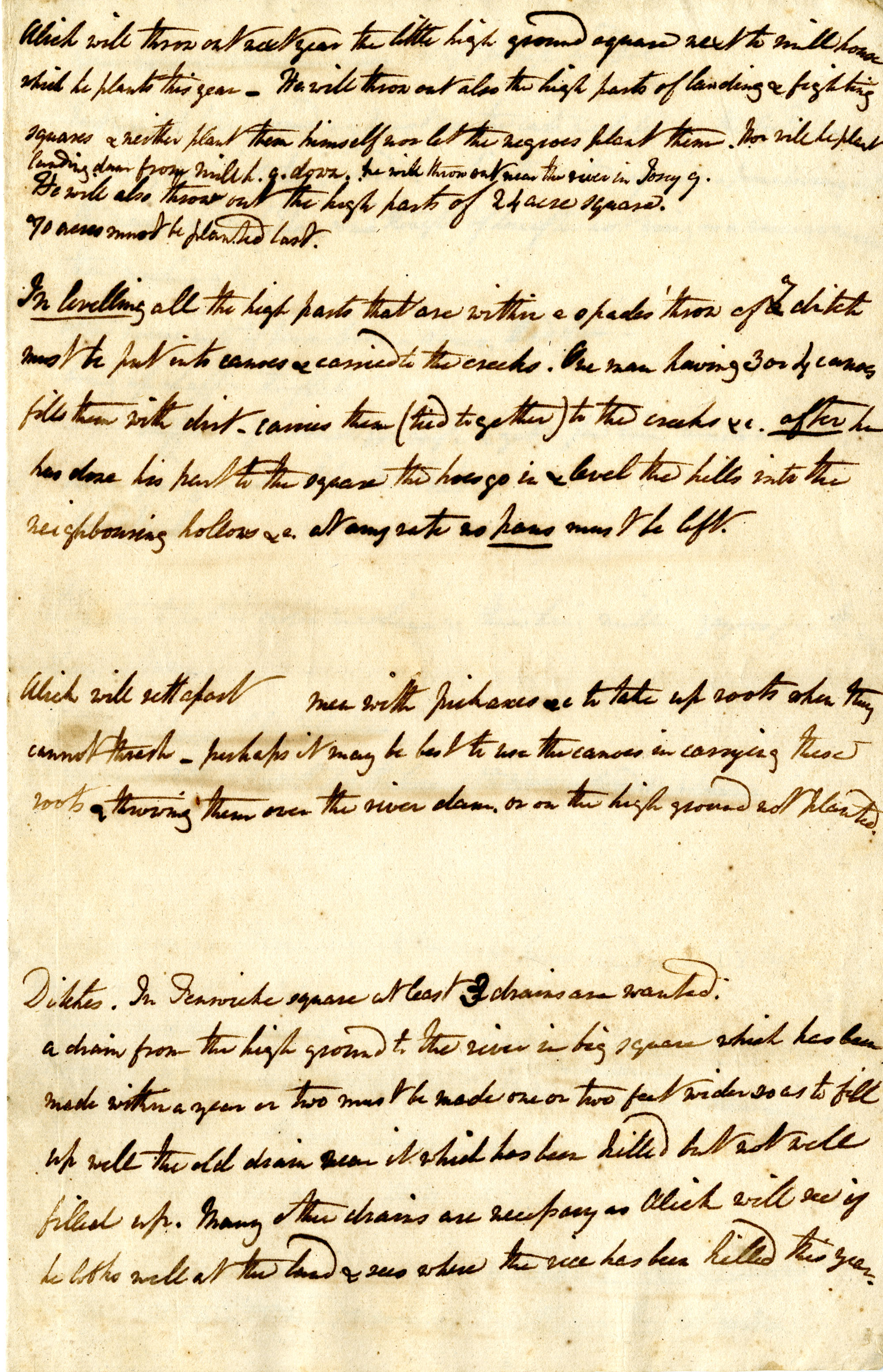 Rough notes and instructions for planting, ditch digging, draining land, etc. for Pinckney lands