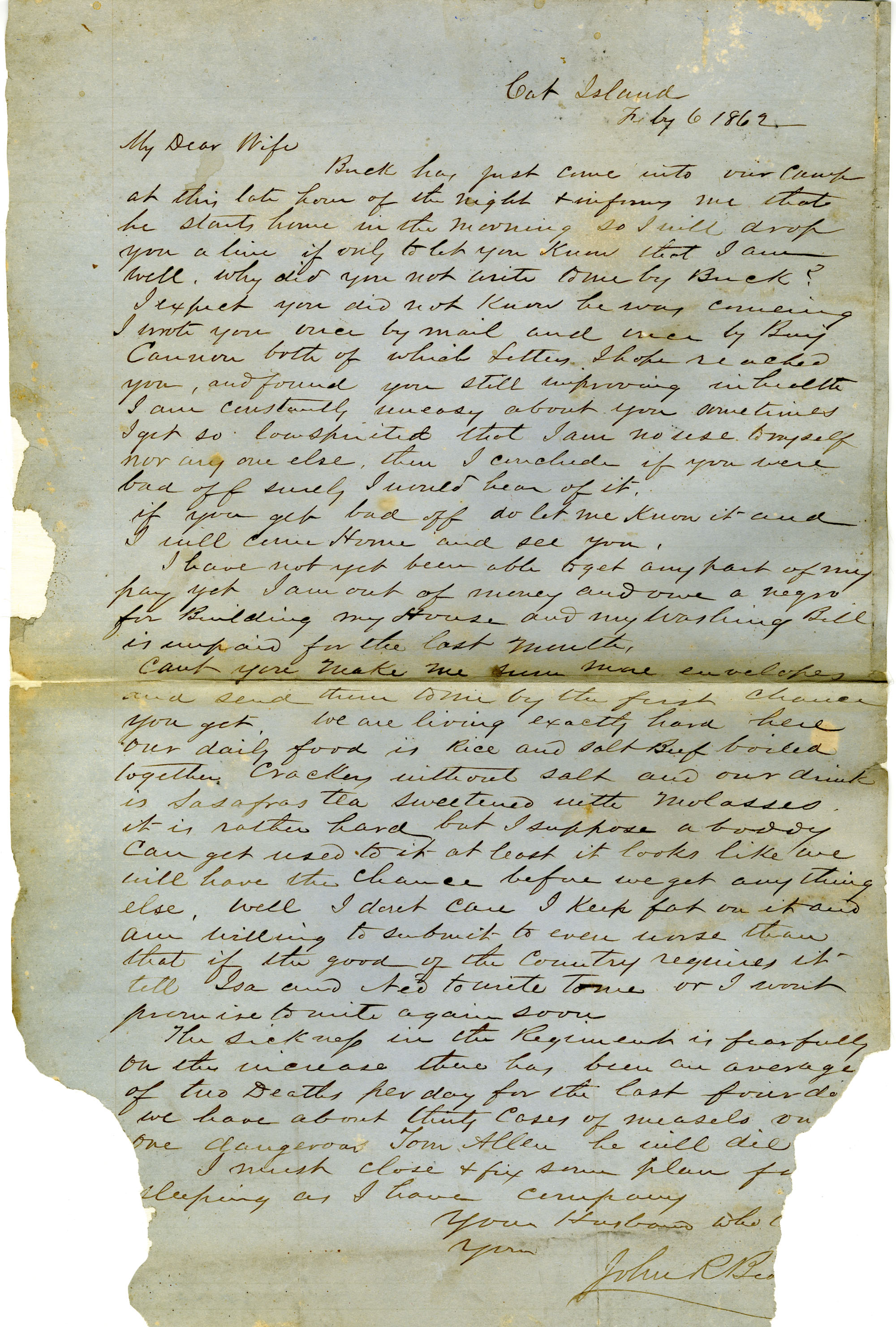 Letter from John R. Beaty to his wife Melvina, February 6, 1862