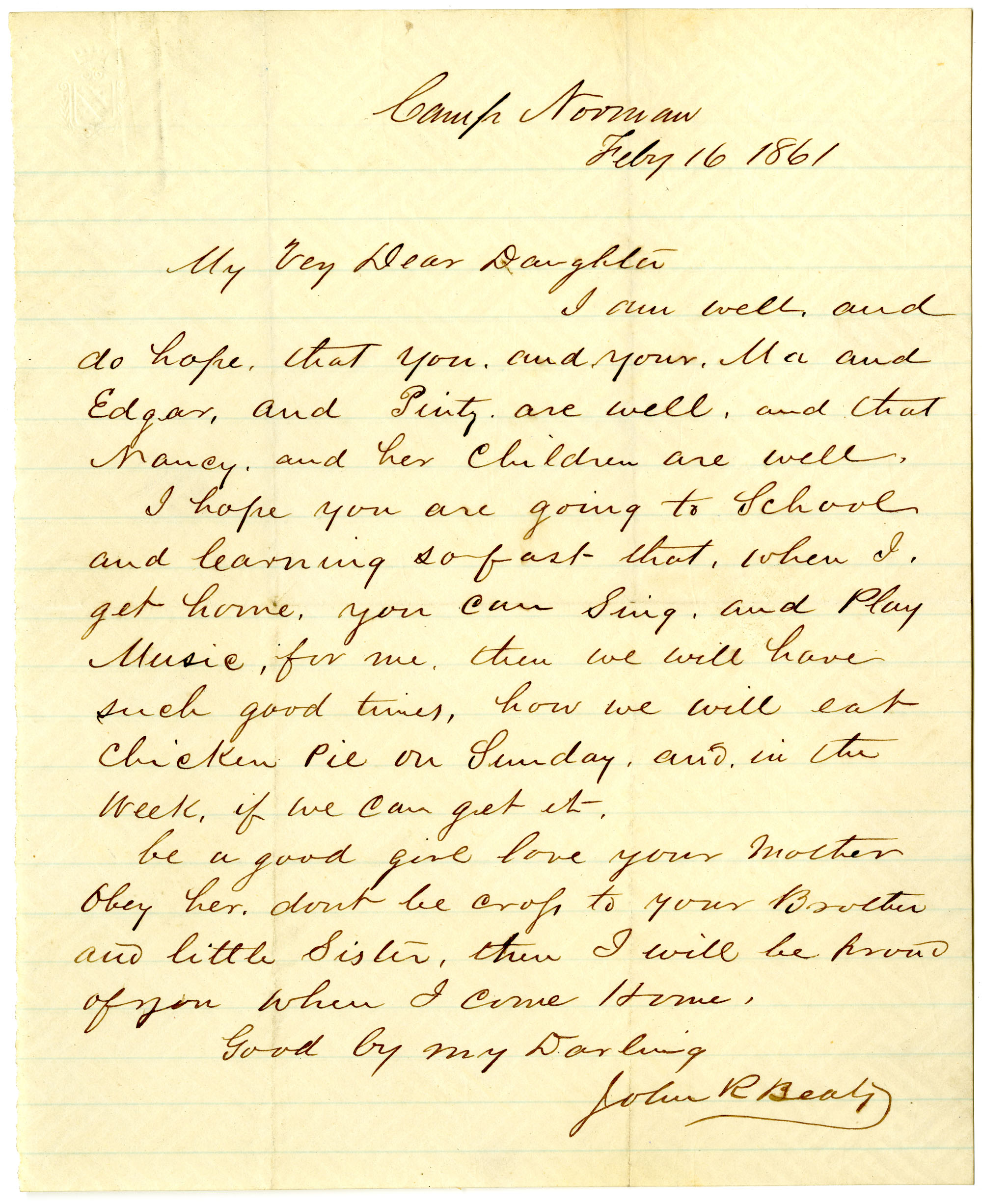 Letter from John R. Beaty to his daughter Isabella, February 1861