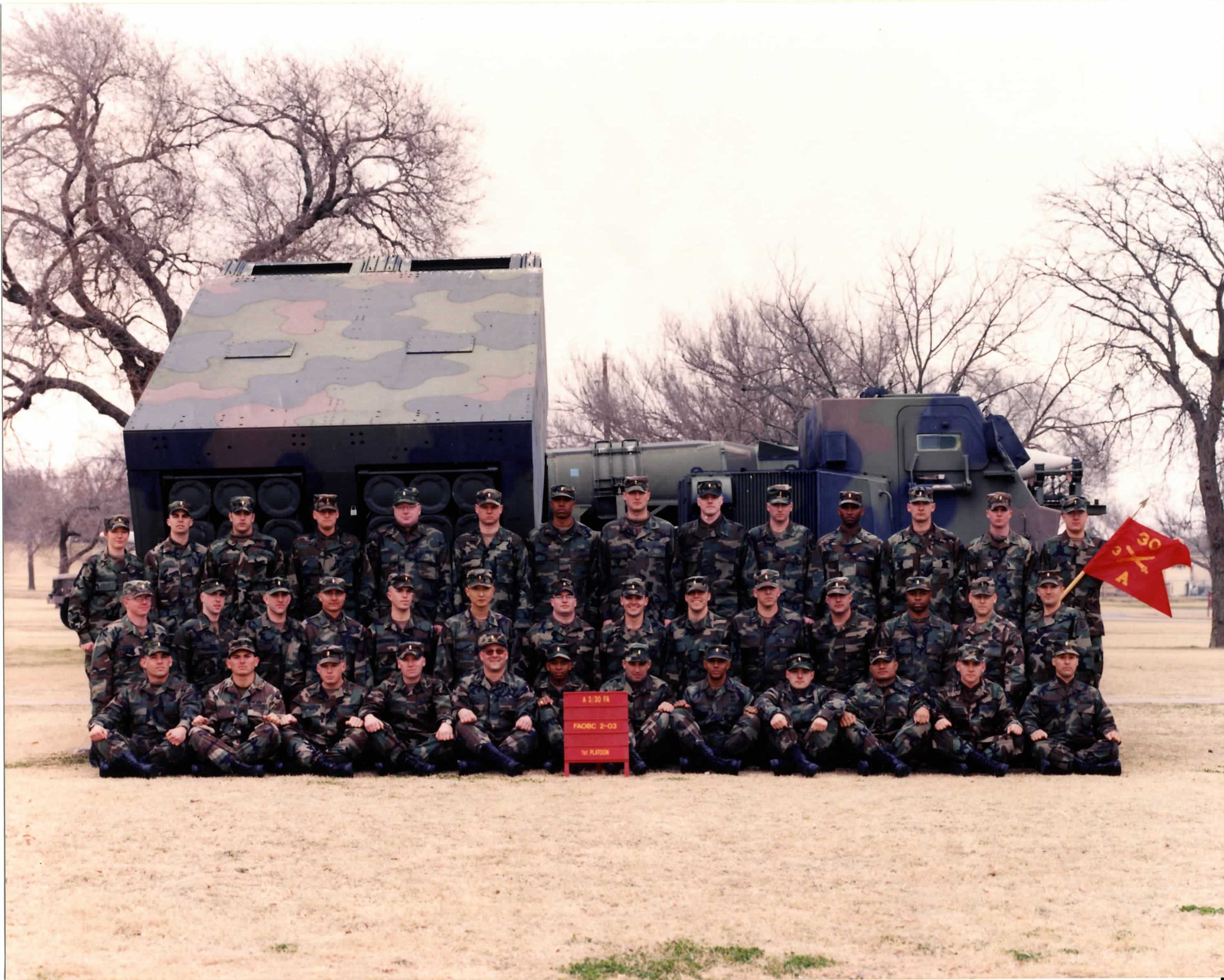 Kosovych's 1st Platoon at Field Artillery Officer Basic Course (FAOBC) with Multiple Launch Rocket System (MLRS)