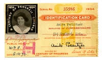 Anita Pollitzer Identification card, A Century of Progress International Exposition [World's Fair held in Chicago]