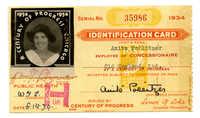 Anita Pollitzer Identification card, A Century of Progress International Exposition [World's Fair held in Chicago]