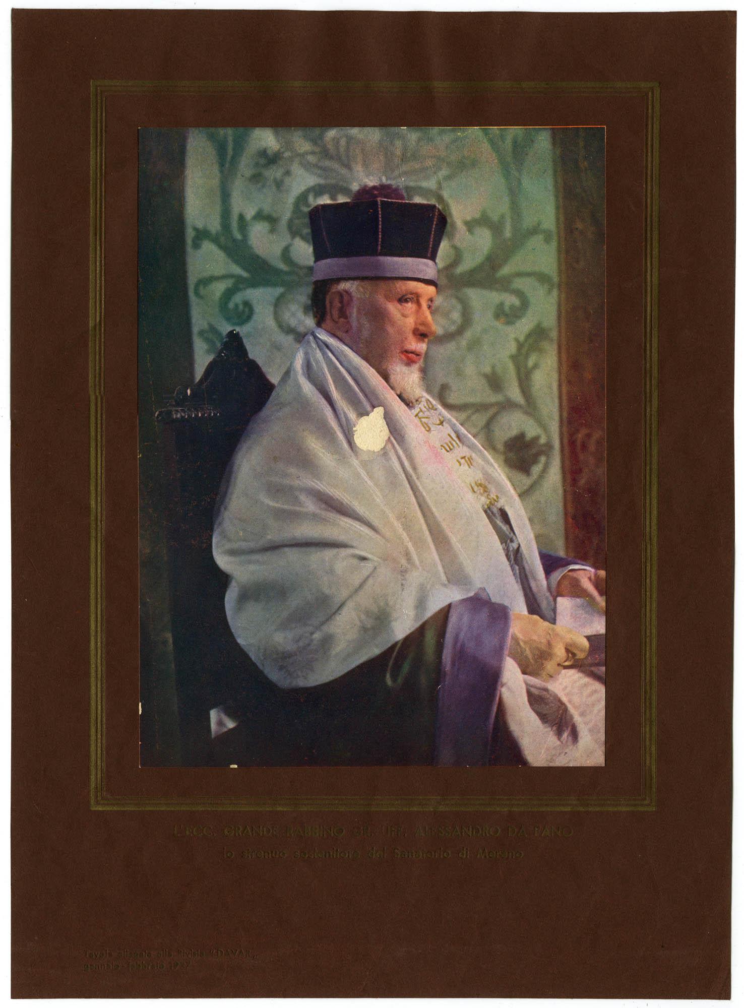 L'ecc. Grande Rabbino Gr. Liff. Alessandro Da Fano lo strenuo sostenitore del Sanatorio di Merano