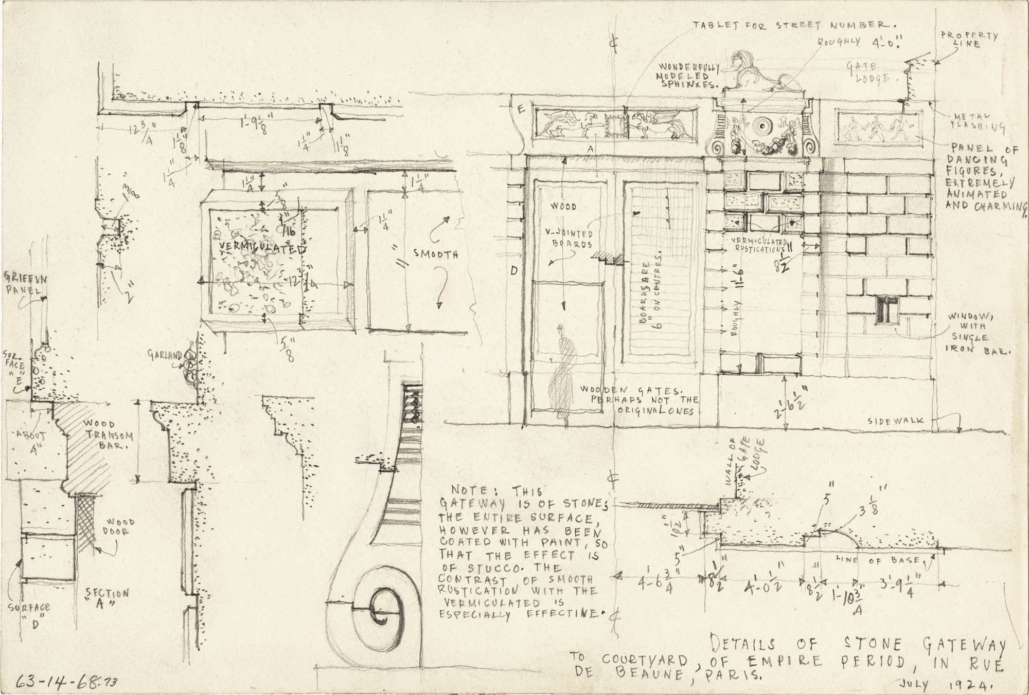 Architectural Details and Buildings Series of One Hundred Twenty Five Drawings and Sketches