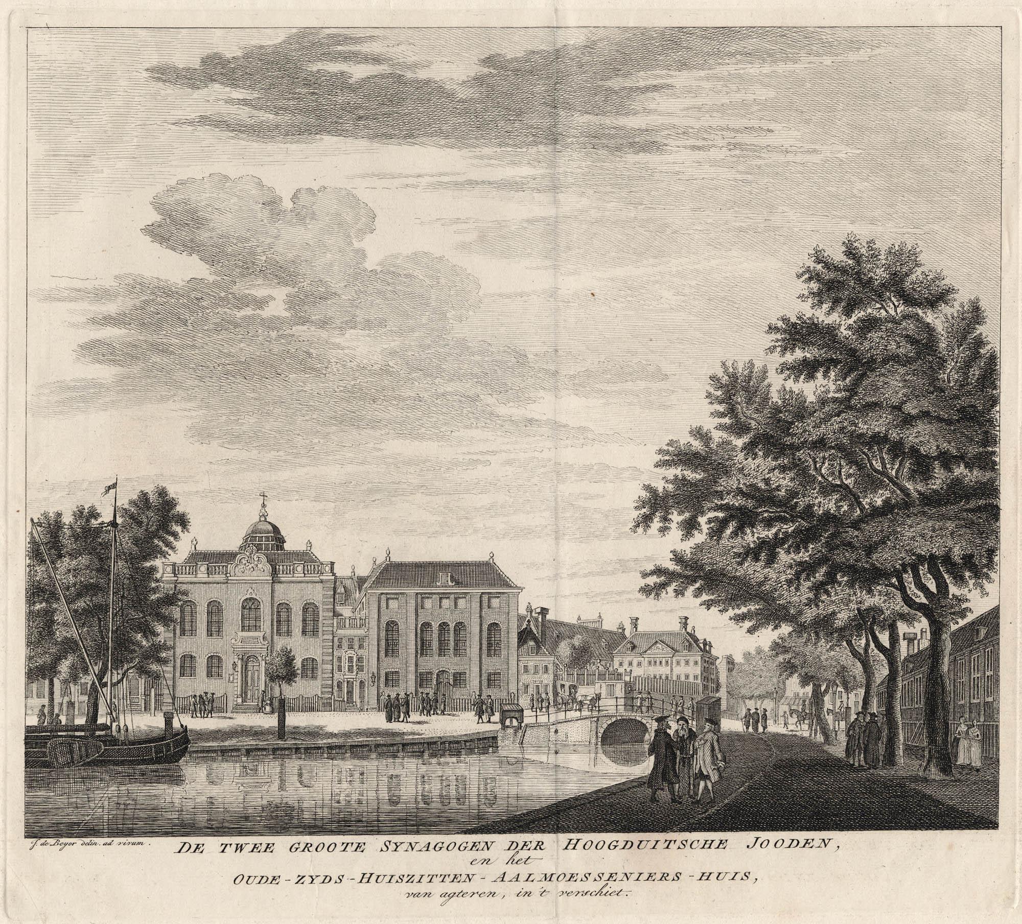 De twee groote synagogen der Hoogduitsche Jooden, en het Oude-Zijds-huiszitten-aalmoesseniers-huis, van agteren, in 't verschiet