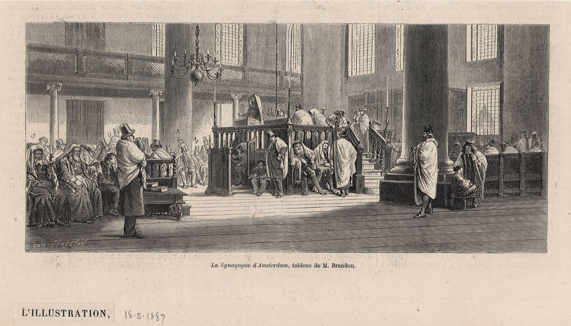 La Synagogue d'Amsterdam, tableau de M. Brandon