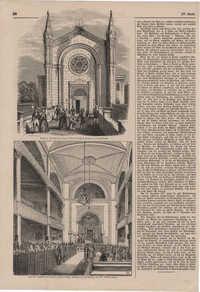 Aeußere Ansicht des neuen israelitischen Tempels zu Hamburg / Innere Ansicht des neuen israelitischen Tempels zu Hamburg bei der Einweihung