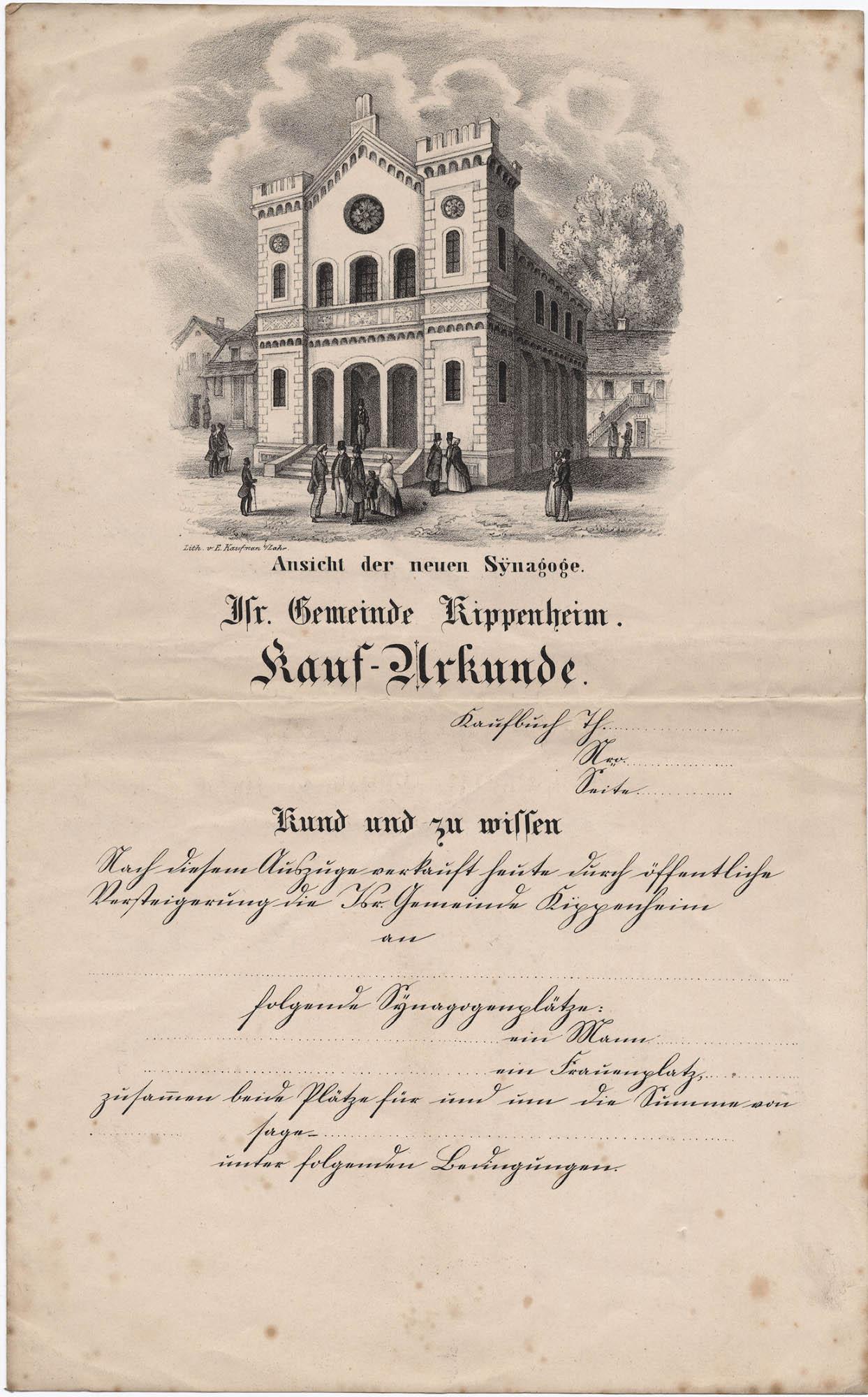 Ansicht der Neuen Synagoge. Isr. Gemeinde Kippenheim. Kauf-Urkunde.