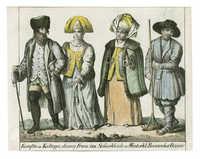 Kaufm. a. Kaluga, dessen Frau im Sommerkleide u. Winterkl. Russischer Bauer