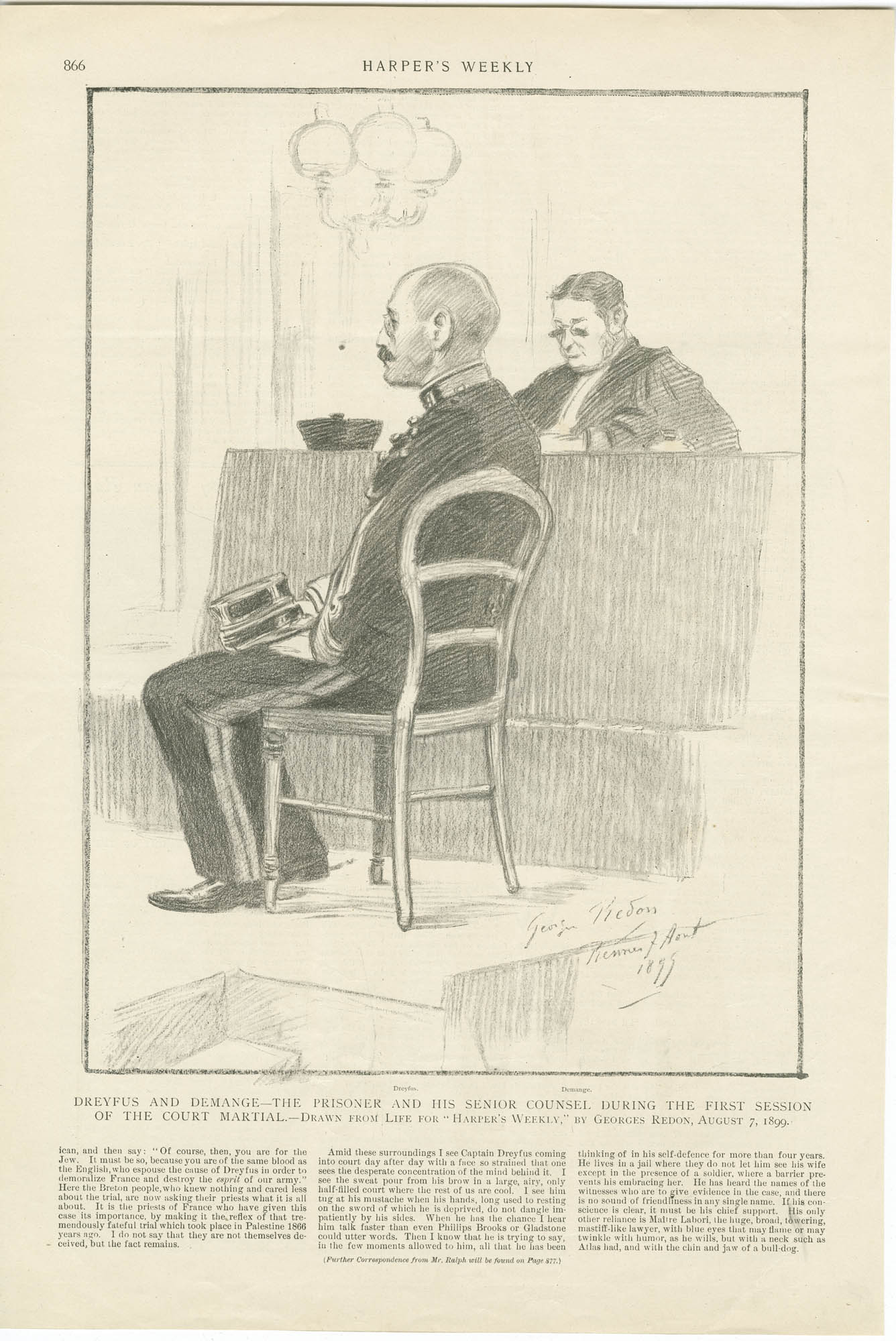 Dreyfus and Demange - the prisoner and his senior counsel during the first session of the court martial