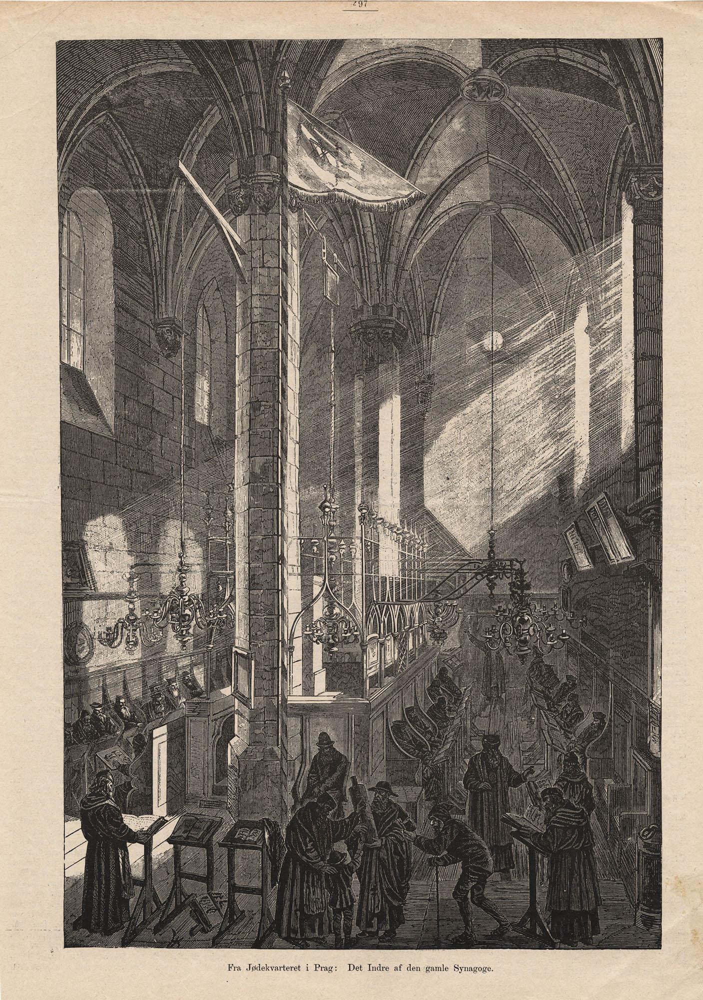 Fra Jødekvarteret i Prag : Det Indre af den gamle Synagoge