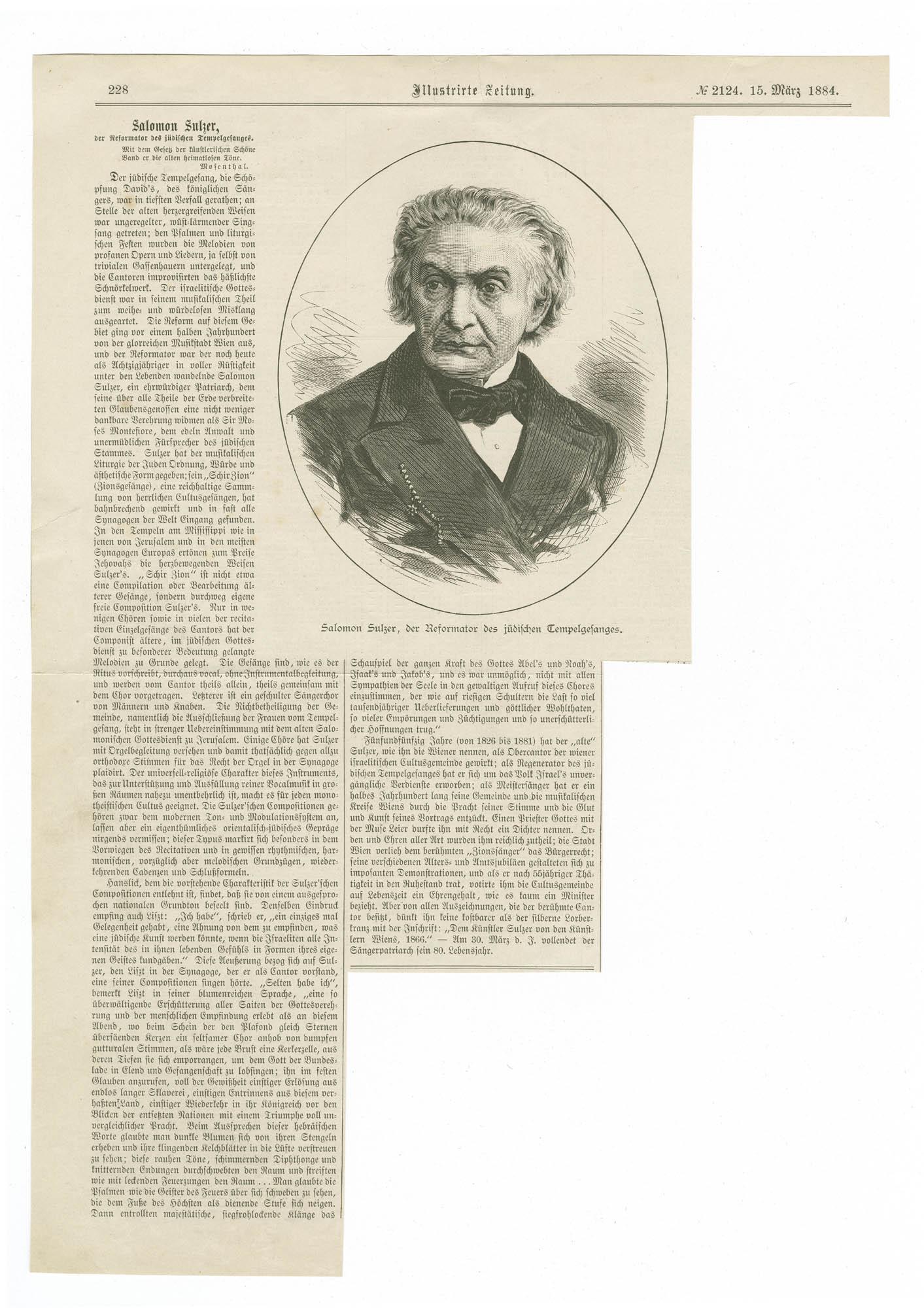 Salomon Sulzer, der Reformator des jüdischen Tempelgesanges
