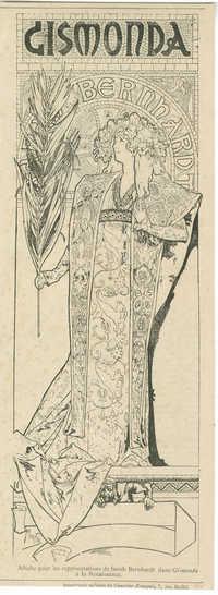 Affiche pour les représentations de Sarah Bernhardt dans Gismonda à la Renaissance