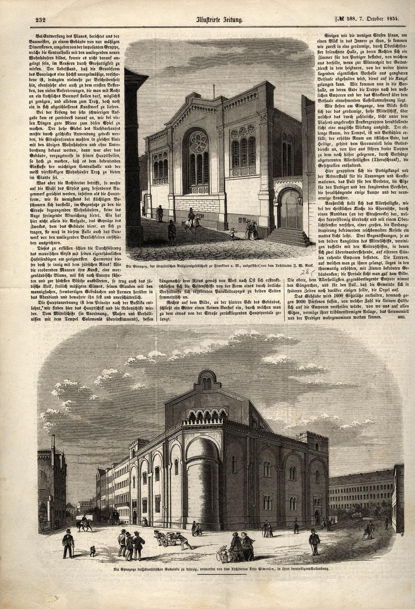 Die Synagoge der israelitischen Religionsgesellschaft zu Frankfurt a. M. / Die Synagoge der israelitischen Gemeinde zu Leipzig
