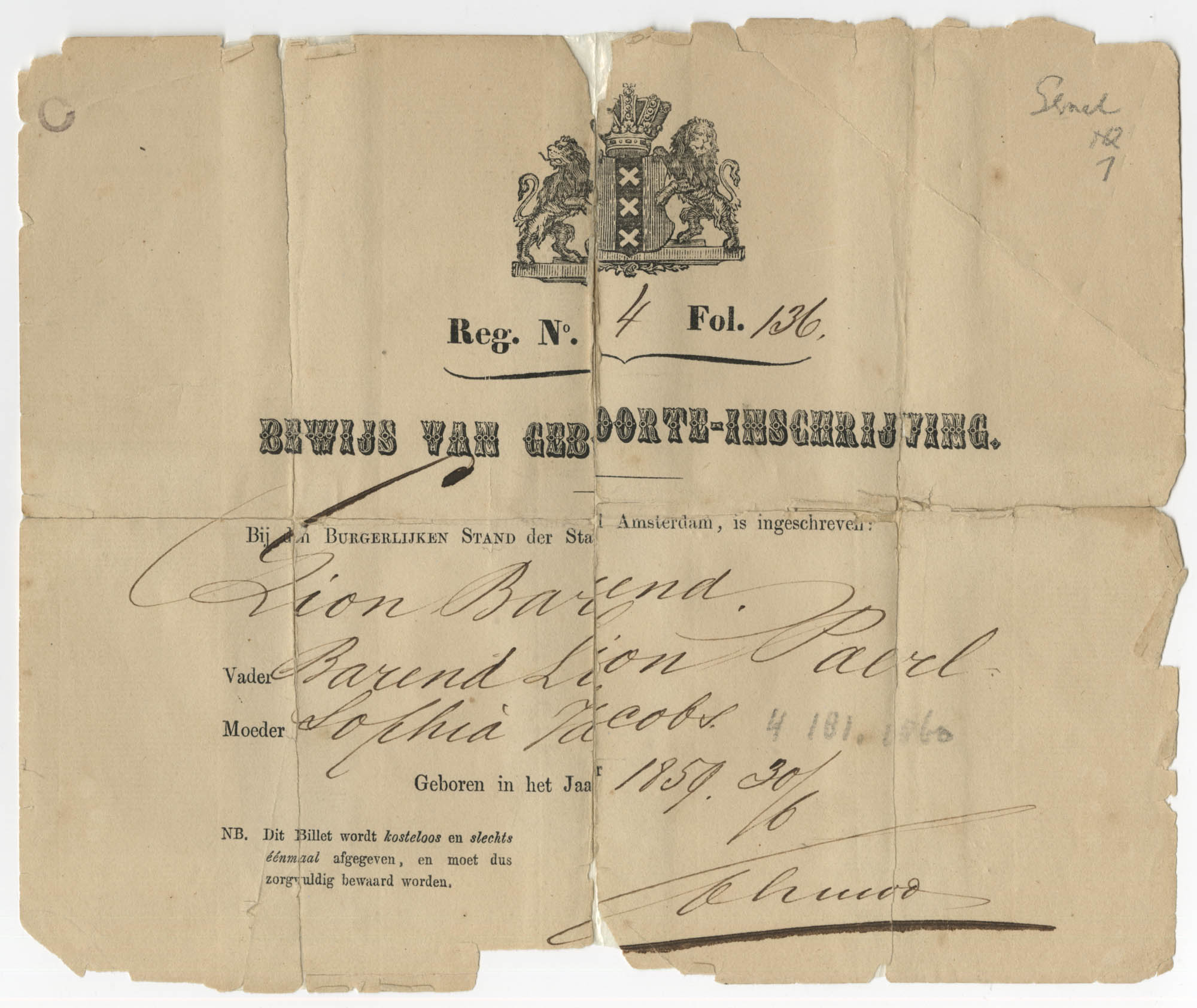 Lion Barend Paerl birth certificate, 1859