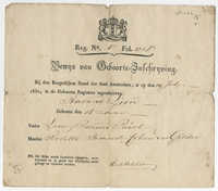 Barend Lion Paerl birth certificate, 1830