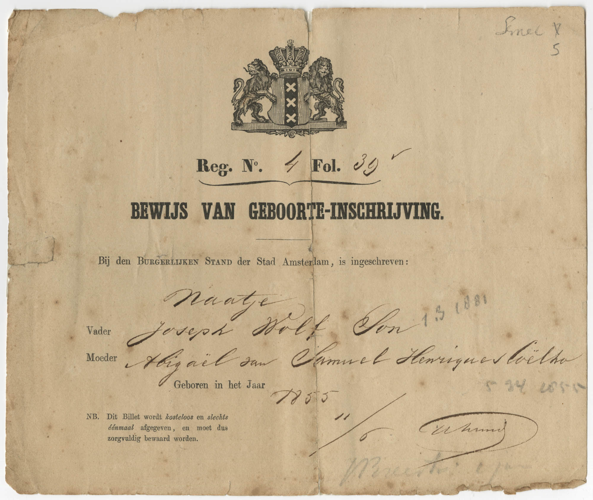 Naatje Son birth certificate, 1855